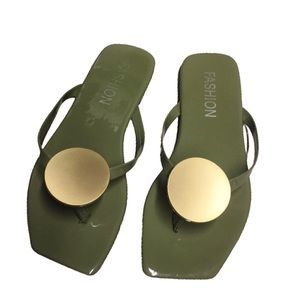 Shoes - Olive Green Square Toe Sandals